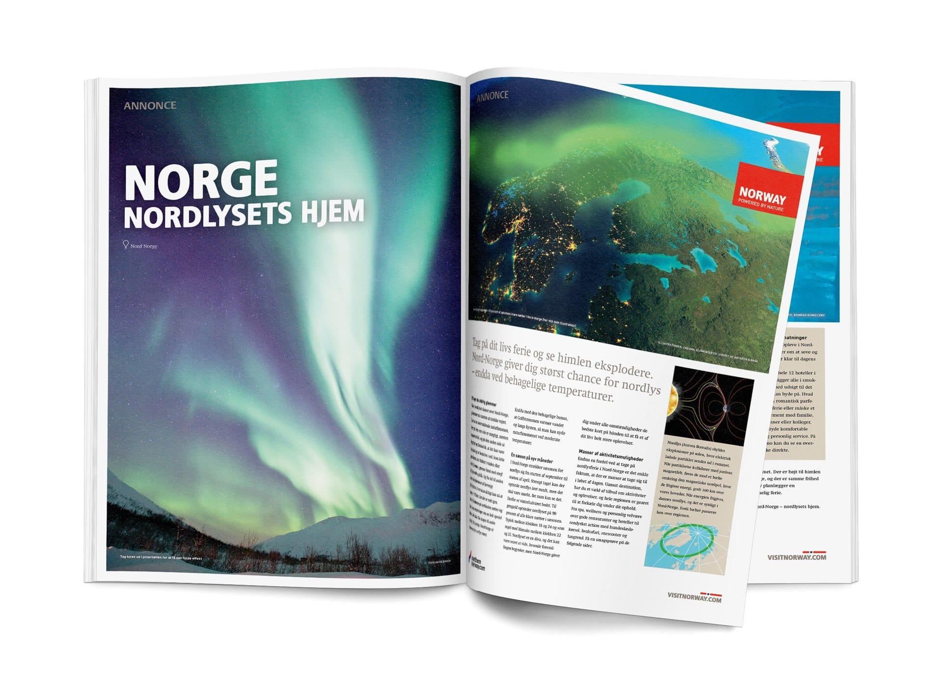 Portfolio case – Landsdækkende Nordlys kampagne for Visit Norway, indeholdende advertorial til landets dagblade samt online banner kampagne.