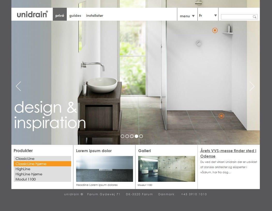 Portfolio case - Unidrains multinational web-platform, promovere virksomhedens profil og deres streamlinede baderums produkter i ny Typo3 portal på 10 sprog