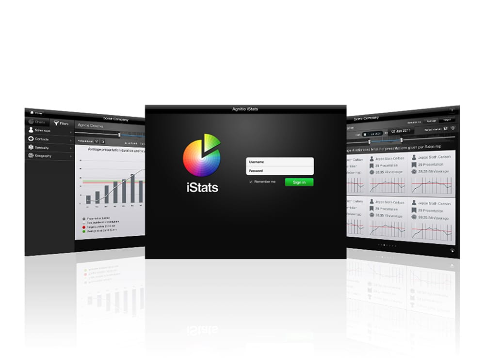 Portfolio case - Interface design af statistik software til CLM virksomheden Agnitio. Statistik over performance af eDetailere i medicinalindustrien.